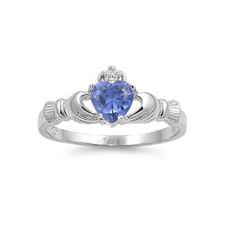 925 Sterling Silver CZ Claddagh Benediction Simulated Tanzanite Ring 9MM
