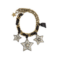 Lanvin Tri Star Collar Necklace - Black and Gold Star Necklace - ShopBAZAAR