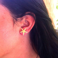 Handmade Real Tan Starfish Stud Earrings (Two pairs)