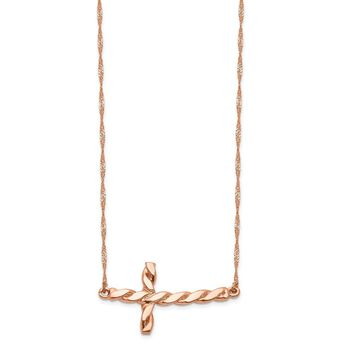14K Rose Gold Polished Twisted Sideways Cross 17 inch Necklace 17 Inch