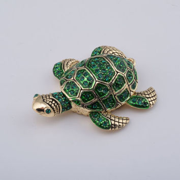 Golden Green Turtle Trinket Box Decorated with Green Swarovski Crystals Faberge Style Handmade by Keren Kopal