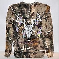 Sale Country Life Southern Attitude Bone Realtree Camo Camouflage Deer Skull Feathers Long Sleeve  T-Shirt
