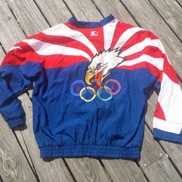 Vintage 1990's Starter OLYMPIC USA Eagle Windbreaker Jacket - Dream Team