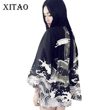 [XITAO] new summer Japan wind casual old style open stitch wafuku A-line sunscreen character dragon female trench,CKB-003