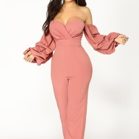 Ryana Off Shoulder Jumpsuit - Dusty Mauve