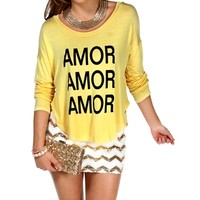Soft Yellow/Black 'Amor' Dolman Top