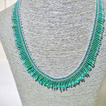 Malachite necklace with fringes in the colours green, lightgreen and silver, Malachite beads, gift for her,gemstone necklace,beaded necklace