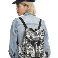 Harry Potter Daily Prophet Print Slouch Backpack