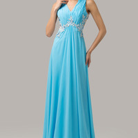 Solid V-Neck Ruched Beaded Embellished Mesh Lace Cutout  Evening Dress