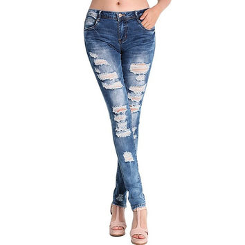 2016 Fashion Pants Jeans Women Hole Stretch Cotton Ripped Jeans Skinny Jeans