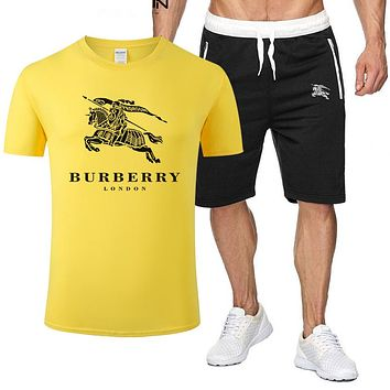 Burberry Fashion New Letter War Horse Print Sports Leisure Top And Shorts Two Piece Suit Men Yellow