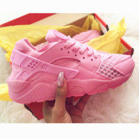 """NIKE""AIR Huarache Running Sport Casual Shoes Sneakers pink H-AA-SDDSL-KHZHXMKH"