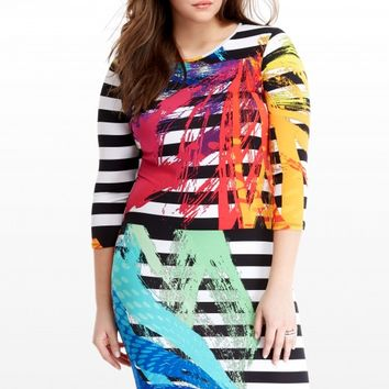 Plus Size Brushstroke Bodycon Dress | Fashion To Figure