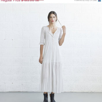 Christmas Sale Ivory Sheer Boho Dress with slip