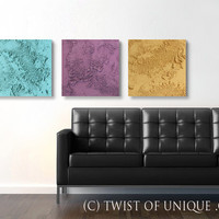 Large concrete wall art / ORIGINAL 3 panel (15-Inch x 15-inch)/ Modern Abstract mineral art /