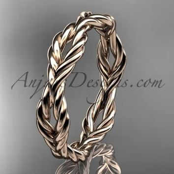 14k rose gold twisted rope wedding band RP8117G