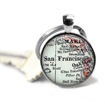San Francisco Keychain, California Keychain, Personalized Map Keychain, Birthday Gift, Anniversary Gift, Bridal Gift Idea, Travel Keychains