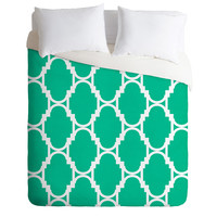 Rebecca Allen Pillow Talk Turquoise Duvet Cover