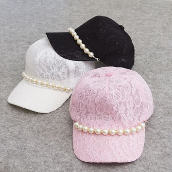 Fashion Lace Floral Baseball Cap With Pearl