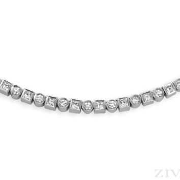 Ziva Vintage Necklace with Princess Cut & Round