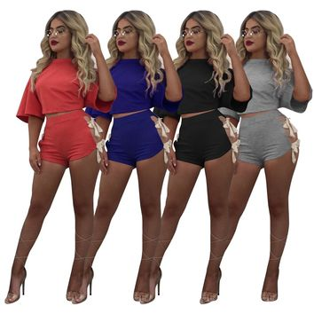 Cropped Tops Shorts 2 Pieces Set