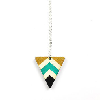 Wood Geometric Necklace - Wood Jewellery, Chevron Jewelry, Teal, Black, Gold, Hand Painted Necklace, Minimalist