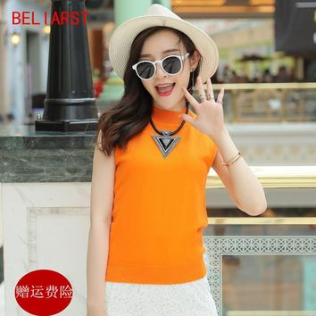 BELIARST The new Spring and Autumn half - Necked Women 's Canvas Vest Sleeveless sets of Cashmere Sweater Slim Vest Sweater