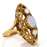 Vintage 14 Karat Yellow Gold Opal Cocktail Ring Fine Estate Jewelry Pre-Owned