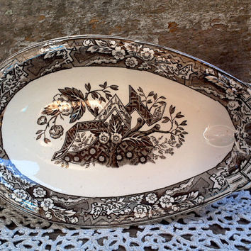 "1800's RARE Wedgwood ""Beatrice"" Aesthetic Brown Transferware Relish Dish,  Bone Dish, Appetizer Plate, Deep Rich Brown Transferware, Serving"