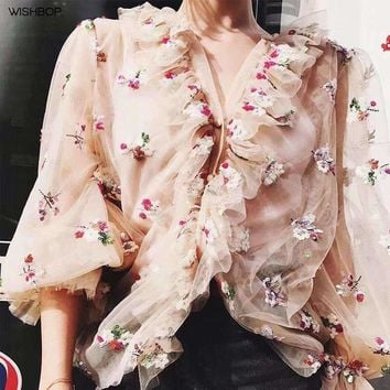 Luxury Woman Fashion Silk Sequined Embroidered Tulle Shirt V-Neck Ruffles Detail Button Up Long Sleeves Frills Cuffs