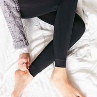 Faux Fur-Lined Footless Tight- Black