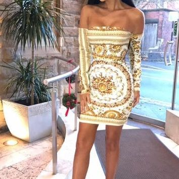 Zina Dress - Gold Print
