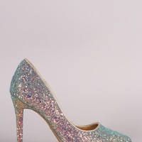Anne Michelle Encrusted Iridescent Glitter Stiletto Pump