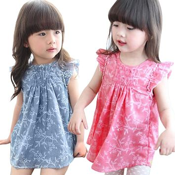 Baby Girls Floral Dress Kids Princess Party Pageant Cotton and Linen Ruffles Sleeveless Dresses Children Clothing