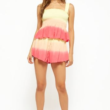 Ombre Ruffled Smocked Top