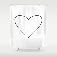 White Heart Shower Curtain by M Studio