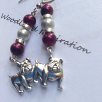 Mississippi State Bulldog earrings, maroon and white pearls with a silver Bully Bulldog charm, Hail State!
