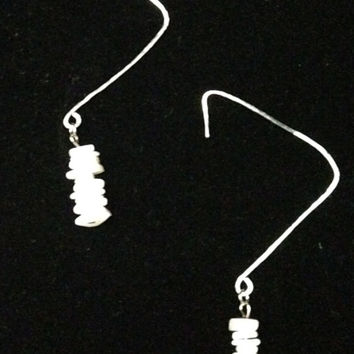 Triangle Hammered Silver Plated Wire Shell Drop Earrings