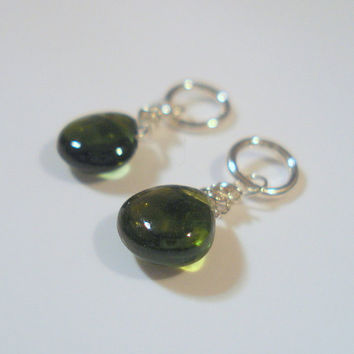 Green Tourmaline Smooth Heart Briolette Charm Dangle, Matched Pair for Interchangable Earrings, Gemstone Charm Earrings