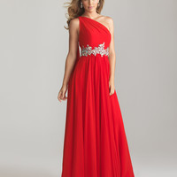 Red Chiffon One Shoulder Embellished Empire Waist Prom Dress - Unique Vintage - Cocktail, Pinup, Holiday & Prom Dresses.