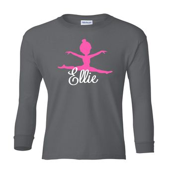 Pink Gymnast Personalized Gray Long Sleeve T-Shirt