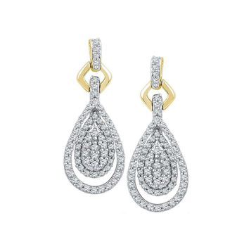 10kt Yellow Gold Women's Round Diamond Teardrop Cluster Dangle Earrings 1-2 Cttw - FREE Shipping (USA/CAN)