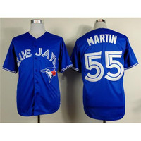 #55 Russell Martin Blue Baseball Jerseys Blue Jays Cool Base Authentic Mens Baseball Wears 2015 Newest Outdoor Athletic Uniform for Sale