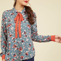 Coveted Career Long Sleeve Top in Slate Floral | Mod Retro Vintage Short Sleeve Shirts | ModCloth.com