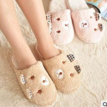 ideacherry Fashion Cute Bear Winter Warm Antiskid Slippers Soft Plush Indoor Couple Ho