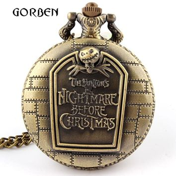 Vintage Nightmare before Christmas Quartz pocket watch with chain necklace pendent men watch Relogio De Bolso