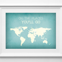 Map Poster - world map - travel poster - Typography Wall Art - gift - world map poster, ALL SIZES, A3
