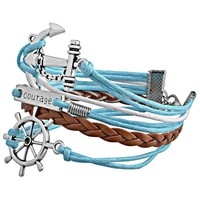 Hot Punk Unisex Men Womens Wide Anchor Leather Belt Bracelet Wristband Bangle