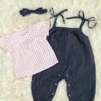 Summer Cotton Short Sleeve T-shirts Spaghetti Strap Pants Children Set [4919899396]