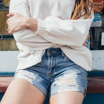 Distressed Midrise Boyfriend Denim Shorts